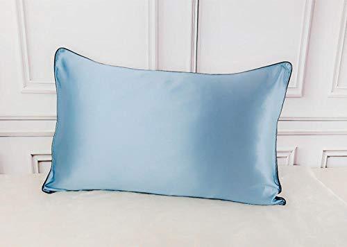 Fundas de almohada de enfriamiento 100% seda natural de morera satén seda multicolor fundas de almohada Fundas de almohada cierre sobre 2pcs-Blau_48x74cm