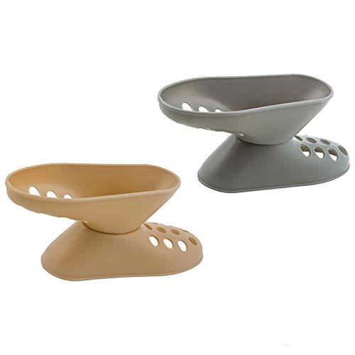SEIWEI Soporte de plástico ajustable para zapatos de dos capas tridimensionales con forma de pie pequeño para hombres y mujeres (paquete de 2 unidades), color beige y gris
