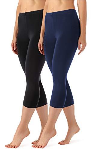 Merry Style Damen Leggings 3/4 aus Viskose 2 Pack MS10-144 (Schwarz/Navy, XS)