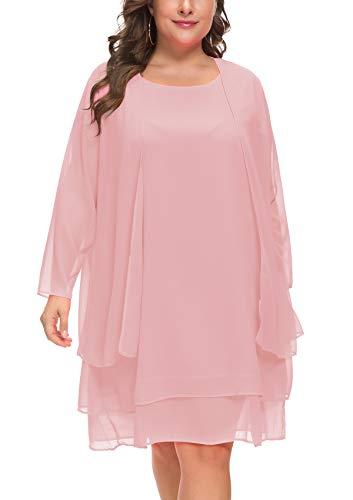 MISSJOY Damen Chiffon Kleid Mutter der Braut Kleider mit Jacke Langarm 2er-Set Knielänge -  Pink -  XX-Large