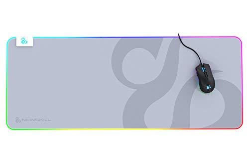 Newskill Nemesis V2 Ivory Alfombrilla Gaming RGB con Base de Goma Natural y Superficie de microfibras (retroiluminación RGB Alrededor de la Base) - Tamaño XL - Color Blanco