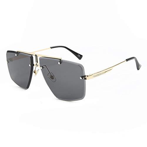 HPLDEHA Gafas de Sol sin Montura Cuadrada Hombres 2020 Verano Nuevo Manera Gafas de Sol Moda Marca Sombras de Las Mujeres UV400 Eyewear (Lenses Color : C3 Gray)