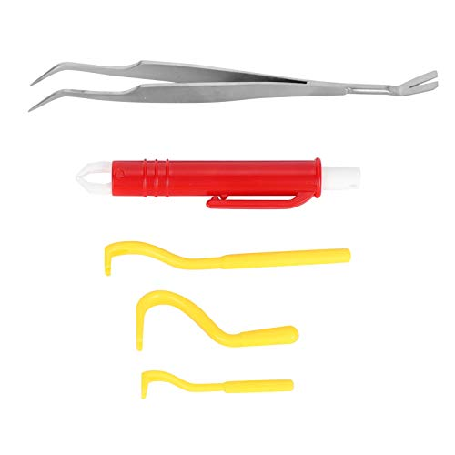 Caiqinlen Flohentfernungswerkzeug, Läuseentfernungswerkzeug, ABS-Katze für Hund(Yellow flea Clip red flea Pen)