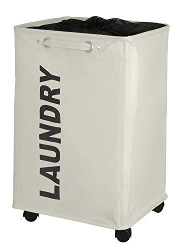 Wenko Wäschesammler Quadro beige, stabiler Wäschekorb, Wäschetonne mit Rollen, Wäschetruhe mit Griff, 100% Polyester, Fassungsvermögen 79 L, 140 x 60 x 33 cm