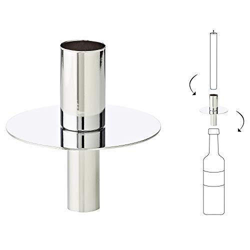 LORENA LIVING Flaschenaufsatz Kerzenhalter Kerzenständer Tom, silberglänzend, Metall vernickelt, Höhe 8 cm, für handelsübliche Stabkerzen mit Ø 2 cm geeignet