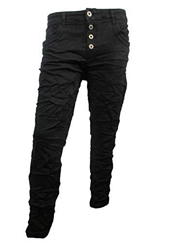 Karostar by Lexxury Denim Stretch Baggy-Boyfriend-Jeans Boyfriend 4 Knöpfe offene Knopfleiste weitere Farben tiefschwarz 2XL-44