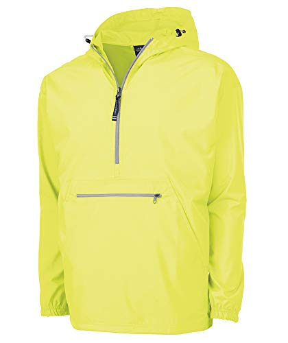 Charles River Apparel Pack-N-Go Wind & Water-Resistant Pullover (Reg/Ext Sizes), neon yellow, L
