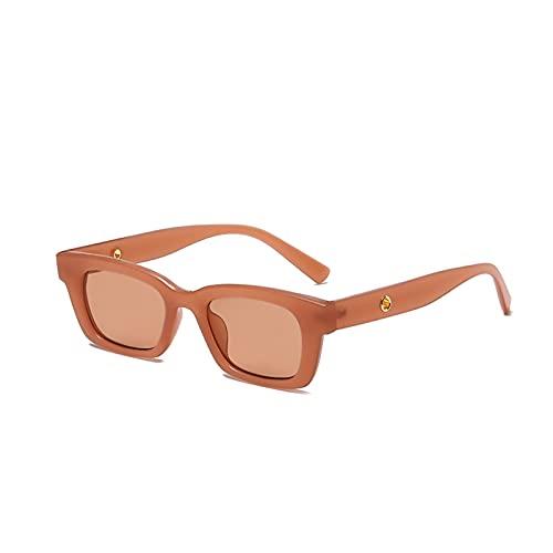 Gafas de Sol, Gafas de Sol de Marco pequeño Personalizadas, Gafas de Sol de Moda, Gafas de Regalo (Size : Bean Paste Frame Tea)