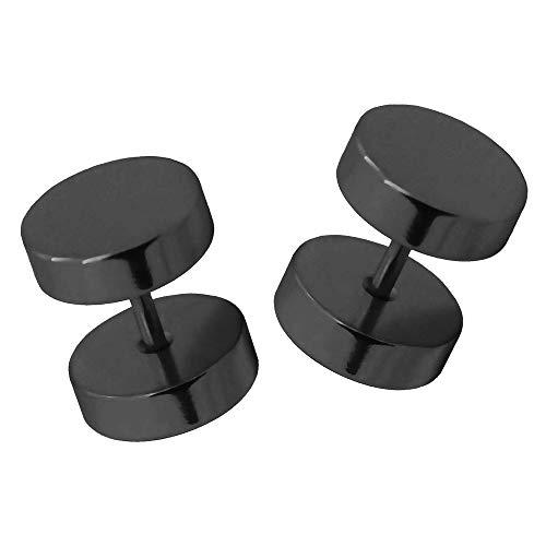2 pendientes plug falso tunnel fakeplugs piercing aretes sin dilatación negro, talla:18mm