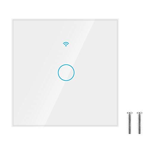 Smart Switch Interruptor de pantalla táctil a prueba de golpes para Alexa y Google Home Voice Control(white, European regulations, Transl)