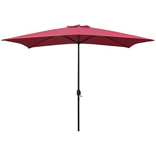 Sunset Vista Designs 300004-R Rectangle Outdoor Market Patio Umbrella with Push Button Tilt and Crank Lift, 10-Feet, Red