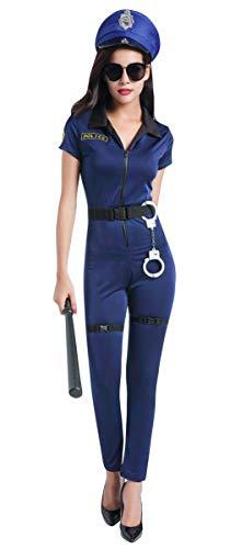 Cloud Kids Damen Polizistin Kostüm Polizei Uniform Polizist Kostüm Cosplay Police Overall Marine Größe XL