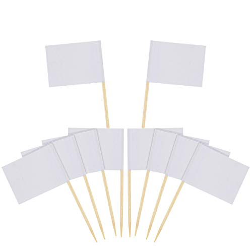 DLOnline 120 Pcs Mini Blank White Flag Toothpicks,DIY Food Picks Cupcake Decoration Fruit Cocktail Sticks Party Supplies, White Flags Labeling Marking for Party Cake Decoration Mini Flag Toothpick