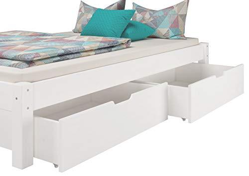 Erst-Holz Bettkasten für Doppelbetten - 3-teilig - Kiefer Weiß - 90.10-S3W