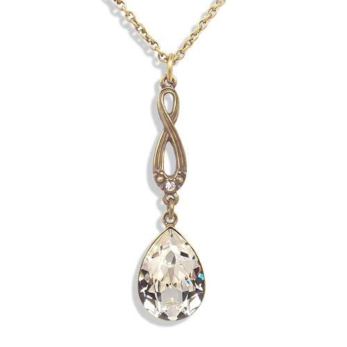 nobel-schmuck Jugendstil Kette mit Kristallen von Swarovski® Gold Crystal