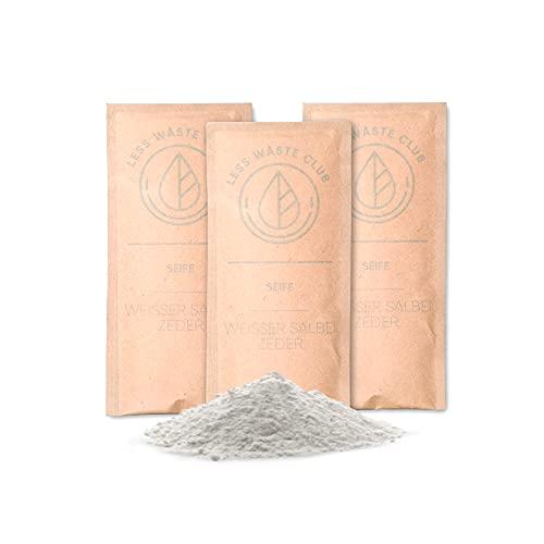 Less Waste Club Jabón de manos en polvo para principiantes, jabón líquido sostenible y vegano, sin microplástico, pH neutro, sin siliconas, sin experimentos con animales, hidratante, cedro blanco