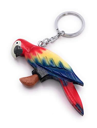 Onwomania Schlüsselanhänger aus Holz Papagei Vogel Sittich Zuchtvogel rot Anhänger Charm