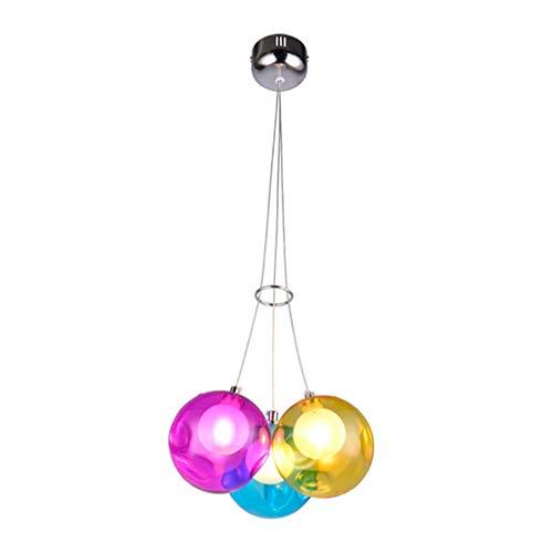 LOVIVER Luces Colgantes Modernas de Cristal de Bola para Techo, Pantalla de Cristal de Globo iluminación Colgante con Cable Ajustable para Comedor, mostrador, Triple Cabezas