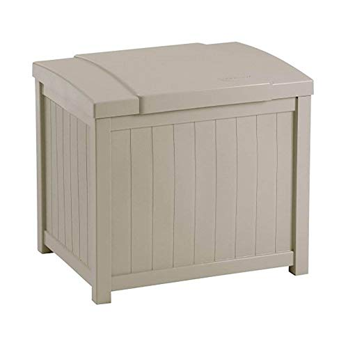 Suncast 22-Gallon Small Deck Box Lightweight Resin Indoor/Outdoor Storage Container and Seat Cushions and Gardening Tools Store Items on Patio, Garage, Yard, Taupe