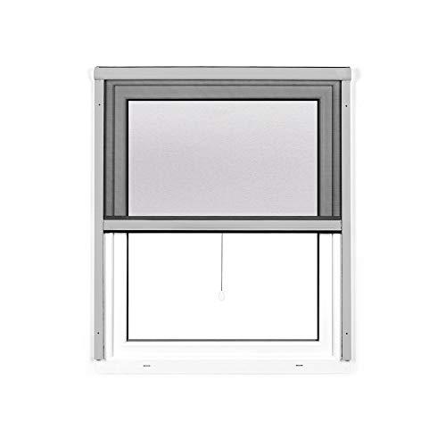 jarolift 4 in 1 Zanzara Insektenschutzrollo Fliegengitter für Fenster, Bausatz mit Aluminium-Rahmen, robustes Fiberglas-Gewebe, 100 x 160 cm (B x H), Silber