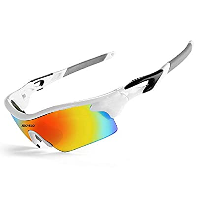 JOGVELO Polarised Sports Sunglasses for Mens and Womens for Cycling Ski Running Driving TR90, White