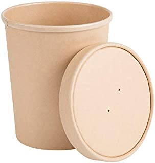 32oz. Disposable Paper Food Storage & Freezer Containers with Vented Lids, Pack of 25 Biodegradable, Compostable Quart Size Pails Great for Soups, Ice Cream, 'to Go' Lunches. Kraft Brown