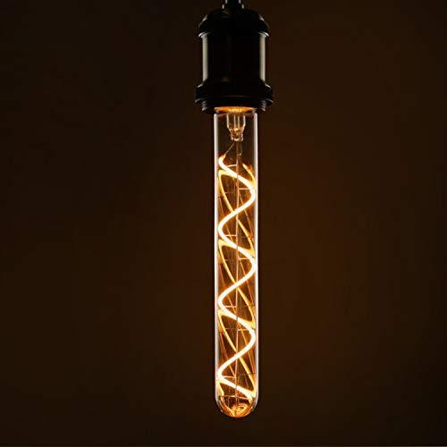 Lámpara de tubo de bombilla LED Edison E27 Lámpara incandescente vintage en forma de tubo Tubo de color dorado de 225 mm Filamento en espiral blanco cálido Nostalgia e iluminación retro, no regulable