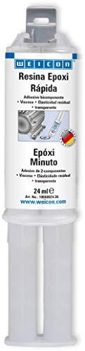 WEICON 10550024-36 Pegamento epoxi al Minuto, 24 ml jeringa Doble, 2 componentes Adhesivo para Metal, Vidrio, Madera | Transparente