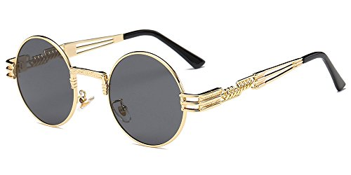 BOZEVON Estilo retro de Steampunk inspiró las gafas de sol redondas del círculo del metal para las mujeres y los hombres, Dorado-Gris