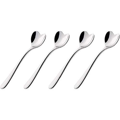 Alessi Big Love Juego de cuatro cucharas de té inoxidable 18/10, gris acero