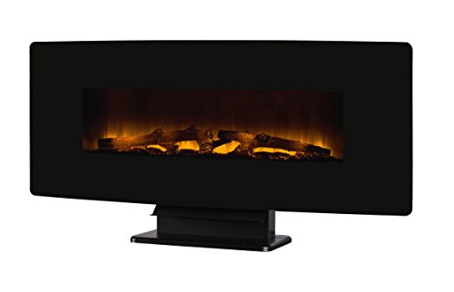 "Muskoka 48"" Curved Front Wall Mount Black Glass Electric Fireplace"