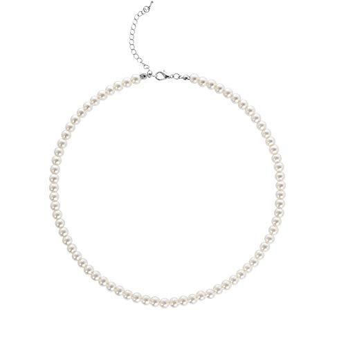 BABEYOND - Collana Girocollo con Perle Sintetiche Rotonde, per spose, Colore: Bianco e Acciaio Inossidabile, Colore: Diameter of Pearl 6mm, cod. WH-Necklaces-0