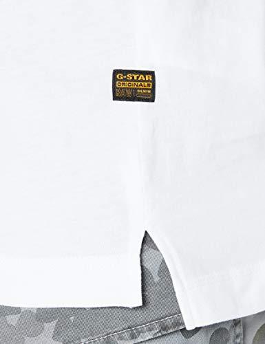G-STAR RAW Back Graphic Logo Camiseta, Blanco B353-110, Large para Hombre