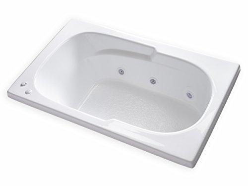Carver Tubs - AR6036 - 6 Jet Whirlpool - 60'L x 36'W x 18'H - White Drop in Bathtub - Left Hand...