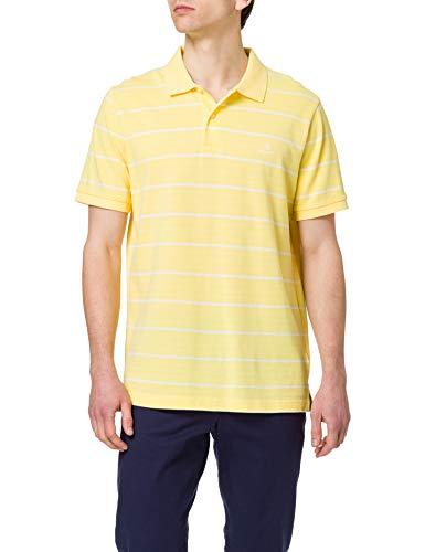 GANT Breton Stripe Pique SS Rugger Camisa de Polo, Amarillo Brimstone, S para Hombre