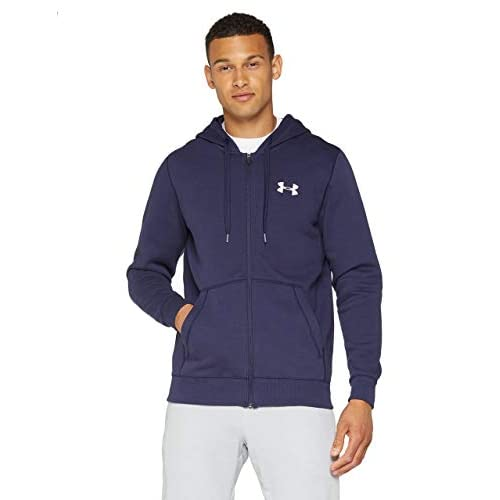 Under Armour, Rival Fitted Full Zip, Felpa, Uomo, Blu (Midnight Navy/White 410), M