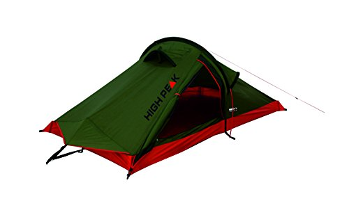 High Peak 10183 Tente randonnée Forme Tunnel Mixte Adulte, Vert Pest/Rouge, 120 x 230 x 90 cm