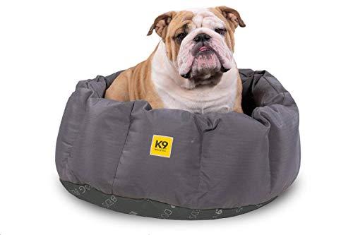 K9 Ballistics Round Dog Bed Deep Den, Bagel, Donut, and Deep Dish Style for Cuddler, Machine Washable (Pewter Grey Black Bottom Medium 30' x 24' x 10')