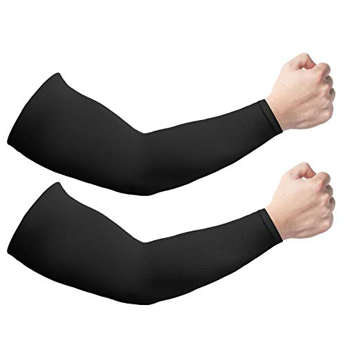 2 Pairs Sun UV Protection Cooling Arm Sleeves for Men & Women, UPF 50 Arm Cover,Black