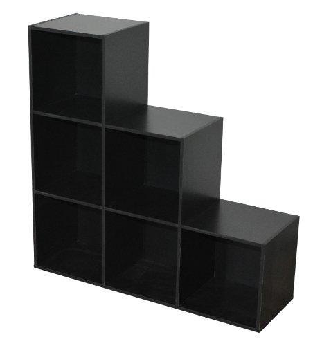 Compo Meuble de Rangement 6 Casiers en Escalier Bibliothèque Etagères Cubes Noir 93 x 29,5 x 93 cm