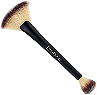 EVE PEARL Dual Brush Crease Blender Fan Highlighter Blush Contour Hypoallergenic Synthetic Easy Control And Blend Makeup Brushes (204 Fan Highlighter)