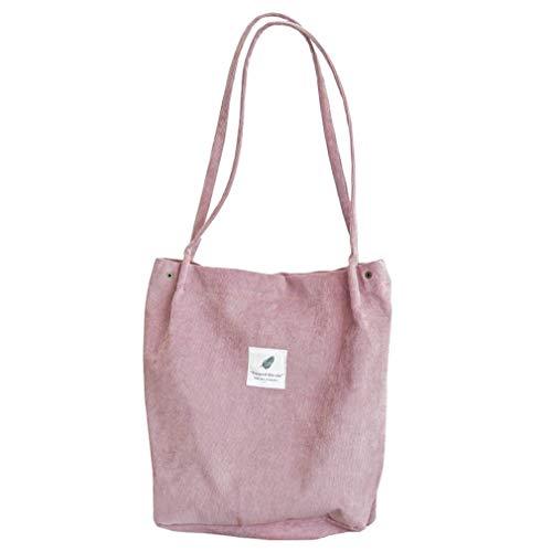 HermosaUKnight Bolso de Pana de Alta Capacidad para Mujer, Bolso de Hombro Informal para Mujer, Bolso de Pana (Rosa)