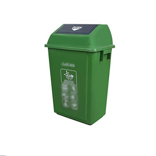 C-J-Xin Kunststoff-Recycling-Behälter, Park School Wohngebiet Müllcontainer Klassifizierung Abfalleimer mit Anti-Rutsch-Griff und Deckel Hohe Kapazität ( Color : Green , Size : 44.5*32*76CM )