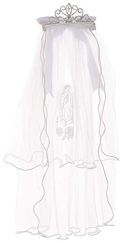 BluNight Collection Little Girls Virgin Mary Embroidered Communion Flower Girls Tiara Veil (11TR3K)
