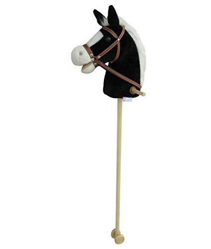Sweety Toys 5093 Steckenpferd BLACKY super-süss ,Farbe schwarz mit weißer Mähne -sehr edel- mit Funktion.