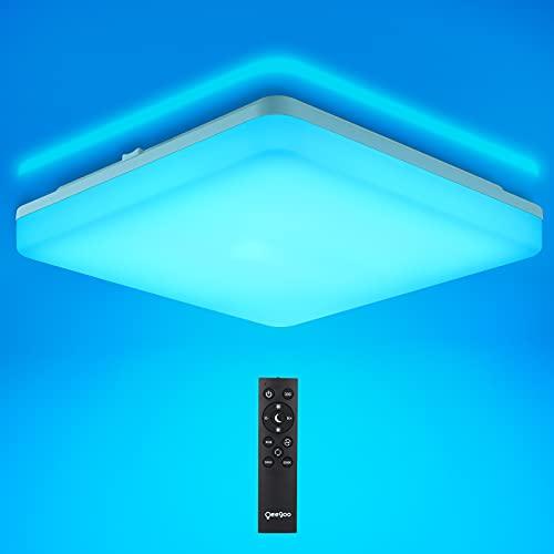 Oeegoo LED Deckenleuchte Dimmbar, RGB LED Deckenlampe Farbwechsel, 18W LED Lampe mit Fernbedienung, IP54 wasserdichte Badlampe, Flimmerfrei Wohnzimmerlampe Schlafzimmerlampe Kunderzimmerlampe
