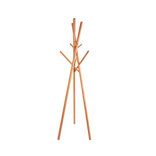 anaan '9' Design Kleiderständer Holz Garderobenständer Massivholz Stabil mit 9 Haken modern, benötigt Keine Schraube, kein Werkzeug, H/B/T ca. 174x51x51cm (9 Holzstöcken Buchenholz)