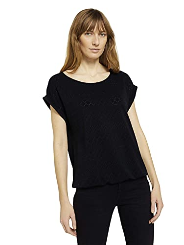 TOM TAILOR Damen 1025784 Jaquard T-Shirt, 14482-Deep Black, M