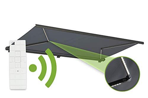 empasa Elektrische Vollkassettenmarkise \'Profi\' mit LED Beleuchtung Kassettenmarkise Gelenkarmmarkise Markise Sonnenmarkise Sonnenschutz