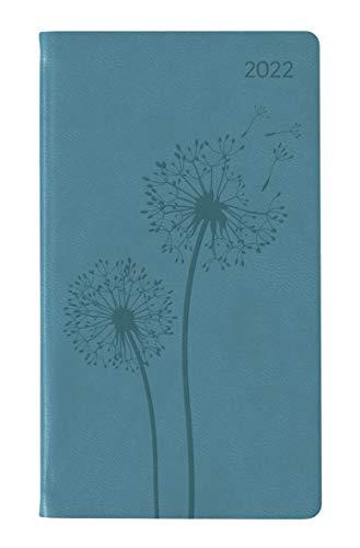 Ladytimer Slim Deluxe Turquoise 2022 - Taschen-Kalender 9x15,6 cm - Tucson Einband - Motivprägung Pusteblume - Weekly - 128 Seiten - Alpha Edition